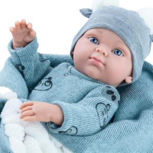 Кукла Бэби с серым одеялком, мальчик, 32 см